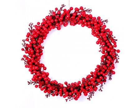 Венок ягодный красный, d35 см