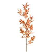 Веточка с листьями новогодняя, 56 см. Цвет: Золотой, Красный