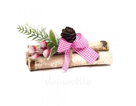 """Новогодний декор """"Вязанка с шишкой и ягодами"""""""