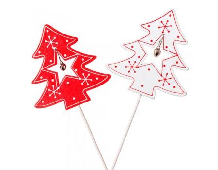 """Новогодний декор """"Елочка с бубенчиком"""", h20 см. Цвета: Красный, Белый"""