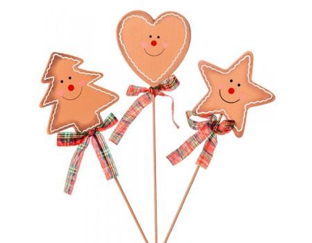 """Новогодний декор из дерева на вставке """"Пряничный"""", h20 см. Елочка, Сердце, Звезда"""