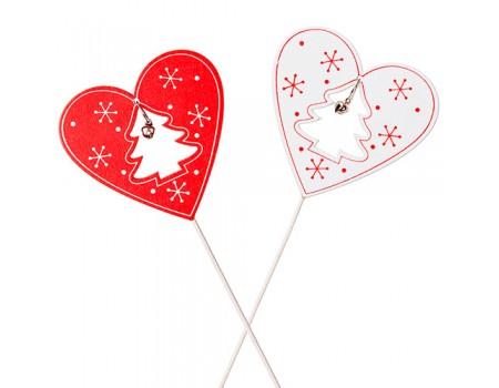 """Новогодний декор """"Сердце с бубенчиком"""", h20 см. Цвета: Красный, Белый"""
