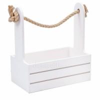 Кашпо деревянное белое, 21х12xH23см