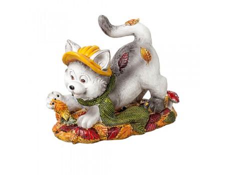 """Фигурка осенняя """"Котенок с листьями"""", 8х5,6х10 см"""