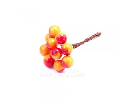 Искусственные ягоды рябины красно-оранжевые, 10 шт