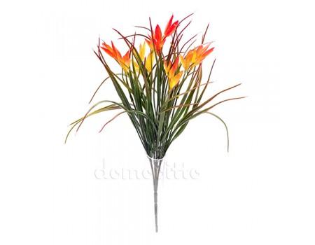 Кустик осенний с цветочками пластик, 35 см