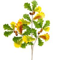 Ветка осеннего дуба зеленая с желтым, 67 см