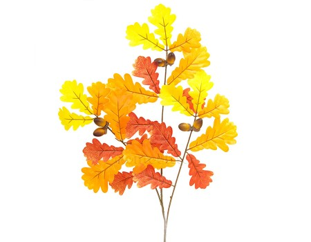 Ветка осеннего дуба желто-оранжевая, 67 см