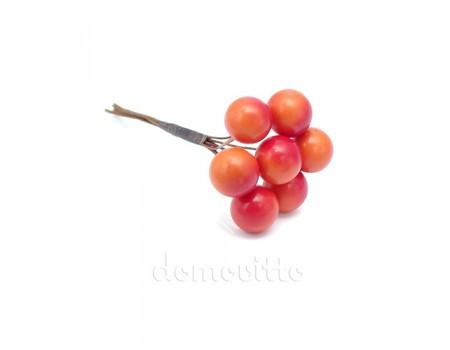 Искусственные ягоды рябины оранжевые, 7 шт