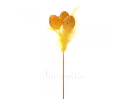 """Декоративная вставка """"Яйца с перьями"""", 50 см. Разные цвета"""
