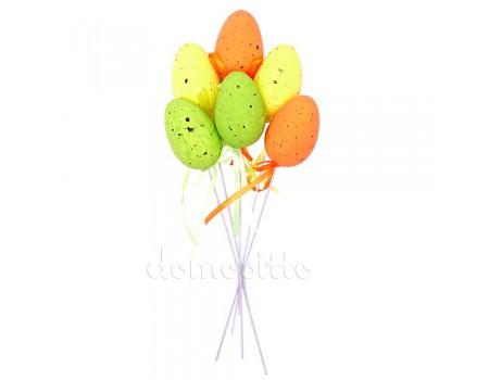 Пасхальные яйца на вставке, 6 шт. Желтый, Зеленый, Оранжевый