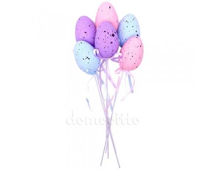 Пасхальные яйца на вставке, 6 шт. Голубой, Розовый, Сиреневый
