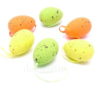 Набор пасхальных яиц 6/7 см, 6 шт. Желтый, Зеленый, Оранжевый