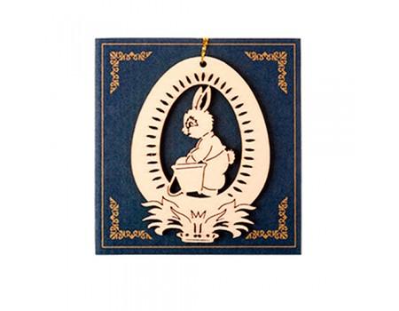 """Пасхальный декор """"Заяц с ведерком"""" дерево, 6х8 см"""