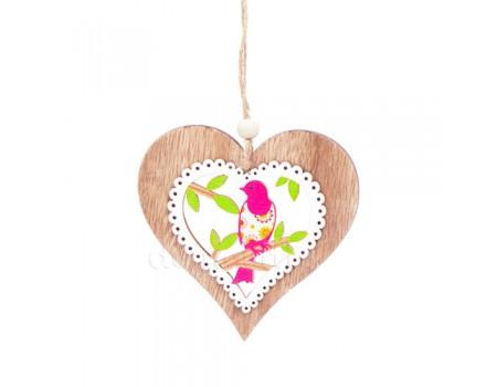 """Подвеска из дерева """"Сердце с птичкой"""", 10 x 10 см"""