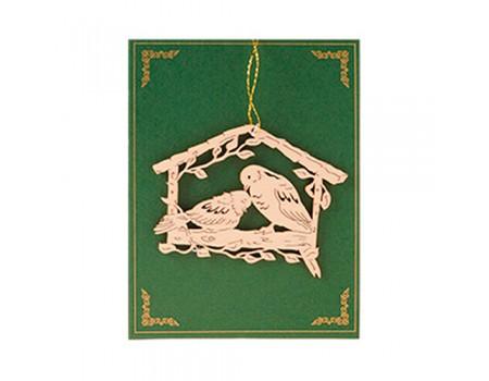 """Весеннее украшение """"Птички в домике"""" дерево, 10х7 см"""
