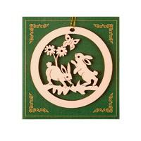 """Весеннее украшение """"Зайчата в кольце"""" дерево, 8х8 см"""