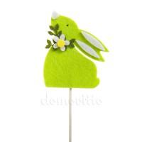 Пасхальный кролик на вставке зеленый, h27 см