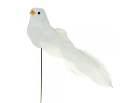 Птичка на вставке белая, 3х3хH15 см