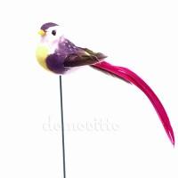 Птичка из перьев на вставке, 3х3хH14 см. Разные цвета