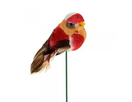 Птичка из перьев на вставке, 3х3хH6 см. Разные цвета