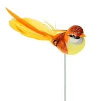 Птичка из перьев на вставке, 3х4хH17 см. Разные цвета