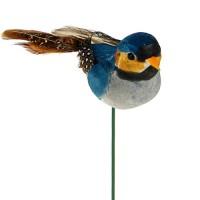 Птичка из перьев на вставке, 3х5хH9 см. Разные цвета