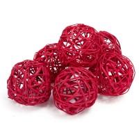 Набор плетеных шаров, диаметр 8 см, 6 шт. Цвет: Красный