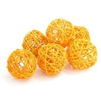 Набор плетеных шаров, диаметр 8 см, 6 шт. Цвет: Оранжевый