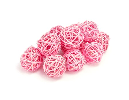 Набор плетеных шаров, диаметр 5 см, 12 шт. Цвет: Розовый