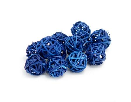 Набор плетеных шаров, диаметр 3 см, 12 шт. Цвет: Синий
