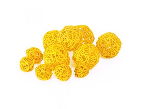 Плетеный шарик желтый для декора d3 см / d5 см. Цена за 1 шт