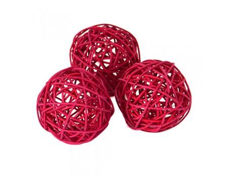 Плетеный шар красный, диаметр 8 см. Цена за 1 шт