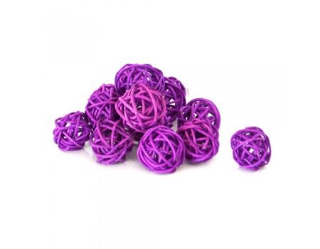 Плетеный шарик фиолетовый для декора d3 см / d5 см. Цена за 1 шт