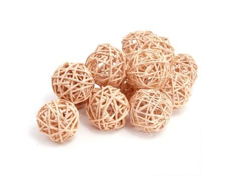 Набор плетеных шаров, диаметр 5 см, 12 шт. Цвет: Кофе с молоком