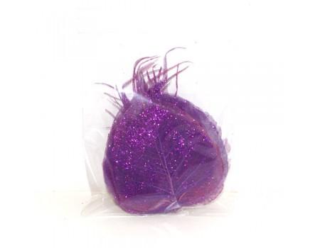 Листья скелетоны с блестками фиолетовые, 15 шт
