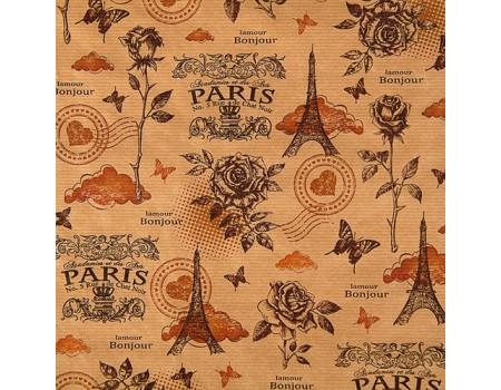 """Крафт бумага с рисунком """"Париж"""" (70 см, рулон 10 м)"""