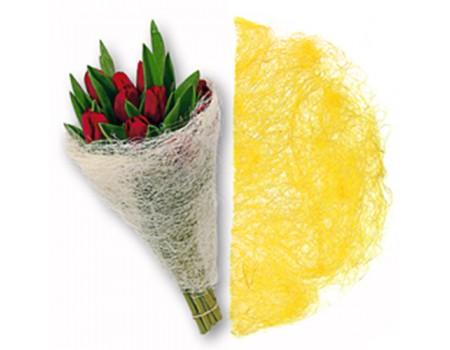 Конус для цветов из сизаля. Желтый