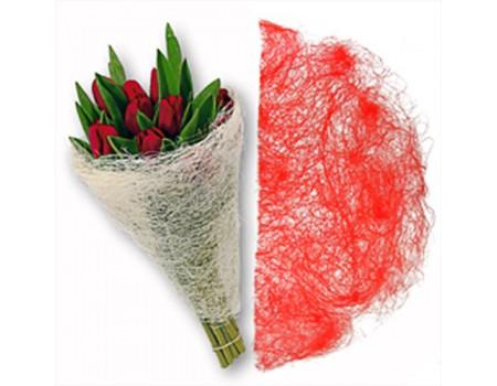 Конус для цветов из сизаля. Красный