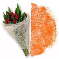 Конус для цветов из сизаля. Оранжевый