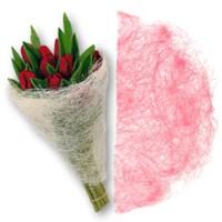 Конус для цветов из сизаля. Розовый