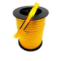 Лента желтая с золотой полосой 1 см, 100 ярдов