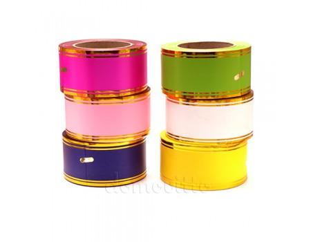 Лента упаковочная с золотыми полосами, 60 мм, 50 ярдов. Разные цвета