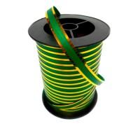 Лента зеленая с золотой полосой 1 см, 100 ярдов