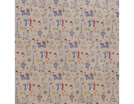 "Крафт бумага с рисунком ""Французские мотивы"" (70 см, рулон 10 м)"