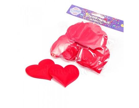 Набор красных атласных сердечек 6,5 х 6 см, 12 шт
