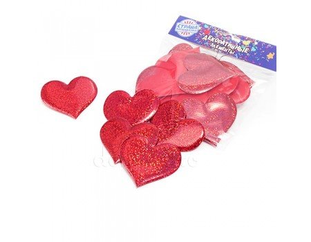 Набор красных сердечек блестящих 6,5х6 см, 12 шт