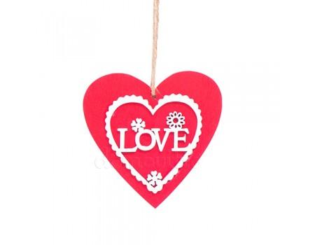 Подвеска красная в форме сердца Love, 10 x 10 см