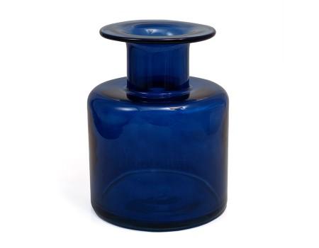 Ваза из цветного стекла, d15,5 х H21 см. Цвет: Темно-синий